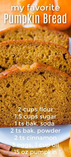 Pumpkin bread has a soft and moist crumb with wonderful pumpkin flavor. This recipe is easy, keeps well, and can be made ahead. #pumpkin #pumpkinrecipes #pumpkinbread #pumpkinloaf #fall #autumn #fallbaking #baking #dessert Fall Recipes, Sweet Recipes, Holiday Recipes, Easy Fall Treats Recipes, Autumn Recipes Baking, Easy Fall Desserts, Cake Recipes For Thanksgiving, Fall Dessert Recipes, Quick Bread Recipes