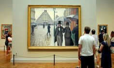 """The Art Institute of Chicago has restored Caillebotte's """"Paris Street, Rainy Day"""" and uncovered new details and colors! http://chicagoist.com/2014/06/22/caillebotte_uncovered_art_institute.php"""