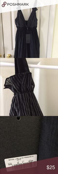 """Ellus casual black gray stripe surplus dress sz a Looked skirt with chiffon layer on top, cute gathered top on straps. Measurements (by hand) armpit to hem 26"""", waist 28"""" ellus casual Dresses Mini"""