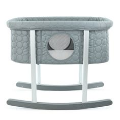 Green Frog Bassinet/Cradle | Gentle Rocking | Mesh Windows | Infant Safe Mattress | Hidden Wheels for Easy Movement | Washable | Lightweight and Transportable | Grey Color