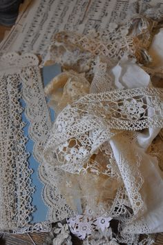 Beautiful French lace and trims in my Den of Antiquity. Similar available from our shop Lily Pond, Geelong