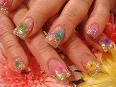 Colorful dried flowers with sparkle tips