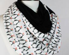 Penguin infinity scarf,Loop scarf. Circle scarf. Women Scarf. Gift. ,Scarves, scarf, infinity scarf,Winter Scarf,