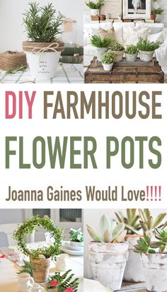 Farmhouse Decor: Are you a Joanna Gaines fan? Check out these various DIY farmhouse flower pots to spruce up the greenery decor in your home! DIY Farmhouse Flower Pots Joanna Gaines Would Love! Farmhouse Garden, Country Farmhouse Decor, French Country Decorating, Farmhouse Style, Industrial Farmhouse, Country Homes, French Farmhouse, Farmhouse Ideas, Farmhouse Design