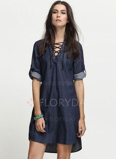 You and this cute dress were meant to be! *DESCRIPTION* Occasion: Day Dresses Length: Above Knee Shown Color: Dark Blue Style: Casual Material: Linen Sleeve: Short Sleeve Neckline: V-Neckline Pattern