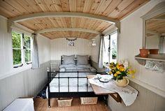 Burnt Ash Farm is a small family run stables based in the Cotswolds that has shepherd huts for luxury camping & a five caravan camp site. Tiny Apartments, Tiny Spaces, Small Rooms, Caravan Living, Self Build Houses, Gypsy Wagon, Gypsy Caravan, Shepherds Hut, Luxury Camping