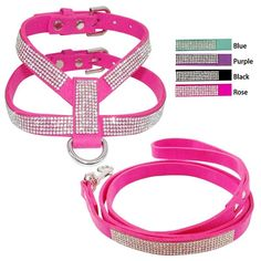 Soft Suede Leather Bling Diamante Rhinestone Puppy Pet Dog Cat Harness And Leash Set For Small Medium Dog Pink Black Purple Blue