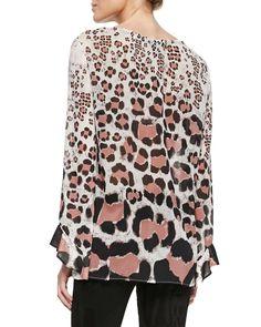 Long-Sleeve Leopard-Print Chiffon Top