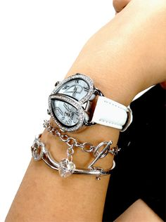 75% off TRAVEL WATCH, big face, womens dual time zone heart bezel fashion watches on sale