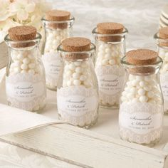 Personalized Wedding Milk Bottle Jars...LOVE these!!! fill with anything, like bath salts!