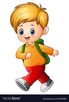 Back to school cartoon stock photos and images - Student Cartoon, School Cartoon, Cartoon Kids, Cartoon Images, Cartoon Drawings, Little Girl Cartoon, Preschool Classroom, Preschool Activities, School Boy