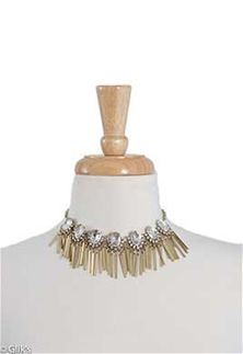 Gold Crystal Statement Necklace with Fringe and Earrings Set JS6914BBCR