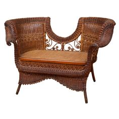 ❤ -Antique Victorian Vanderbilt Settee  United States  late 19th Century  Exceptional antique wicker settee.