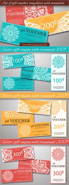 Set of Gift Voucher Templates Vector EPS #design Download: https://creativemarket.com/astartejulia7893/382936?u=ksioks