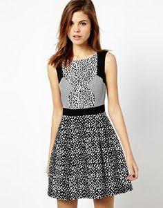 Karen Millen Dress with Leopard Panel