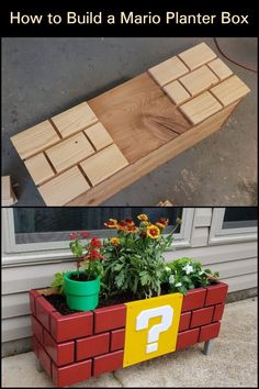 This DIY Mario planter box is beautiful and functional – what more can you ask for? This DIY Mario p Home Projects, Craft Projects, Projects To Try, Cool Diy Projects, Wood Crafts, Diy And Crafts, Mario Room, Planter Boxes, Diy Furniture