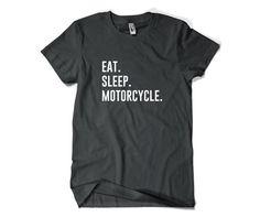 Motorrad Shirt-Essen Schlaf Motorrad T Shirt von SuperCoolTShirts
