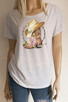 Oversized Baseball Shirt mit Print Cowboys Boots /& Country Music weiß XS-XL