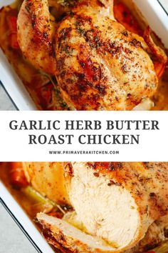 Packed with flavour, crispy skin and moist meat, this Garlic Herb Butter Roast Chicken comes out perfectly every time! Make this juicy roast chicken for your next family get together and get praised for being the best hostess! #roastedchicken #roastedwholechicken #garlicbutterchicken