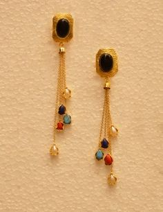 Party Wear Colorful Drop Chain Golden Earring With Funky Look