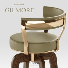 Gilmore Bar Chair was designed to bring a luxury and mid-century touch to any bar.This vintage bar chair is supported by tall glossy back lacquered legs with br Home Decor Furniture, Sofa Furniture, Luxury Furniture, Furniture Design, Cool Chairs, Bar Chairs, Designer Bar Stools, Luxury Dining Room, Contemporary Sofa
