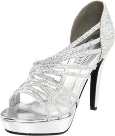 Touch Ups Women's Carey Platform Sandal * Discover this special product, click the image : Closed toe sandals Cheap Silver Heels, Silver Wedding Shoes, Bridal Wedding Shoes, Bridal Heels, Silver Shoes, Silver Glitter, Crystal Wedding, High Heels For Prom, Cheap High Heels