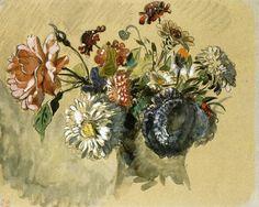 """Eugene Delacroix """"Bouquet of Flowers"""" 1843 Romaticism"""
