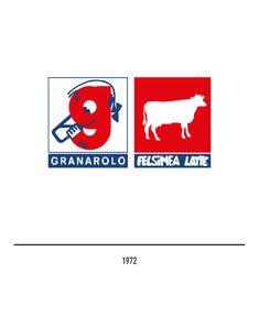 Marchio Granarolo del 1972 Italian Logo, Letter G, Red Background, History, Logos, Logo, Museum, Historia