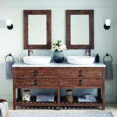 Benoist Reclaimed Wood Console Double Vanity for Semi-Recessed Sink - Pine - Bathroom Vanities - Bathroom Vessel Sink Vanity, Bathroom Vanity Cabinets, Bathroom Countertops, Bathroom Storage, Bathroom Vanities, Marble Bathrooms, Luxury Bathrooms, Bathroom Fixtures, Beautiful Bathrooms