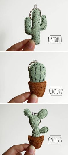 Quilting Projects, Sewing Projects, Suculentas Diy, Felt Crafts, Diy Crafts, Embroidered Cactus, Cactus Keychain, Cactus Craft, Felt Succulents