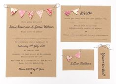 Bunting Summer Fete Wedding Invitations 60 x full set via Etsy