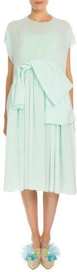 Delpozo Short-Sleeve Chiffon Overlay Dress, Mint
