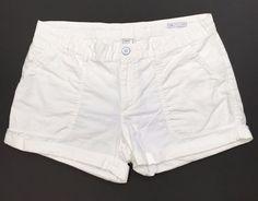 "Gap Linen Cotton Shorts Size 12 White 3"" Inseam Cuffed Style 824594-03 #Gap #CasualShorts"