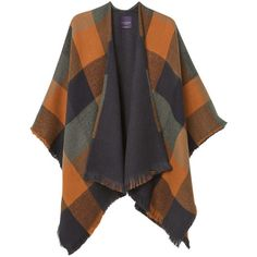 Violeta BY MANGO Check Poncho ($60) ❤ liked on Polyvore featuring outerwear
