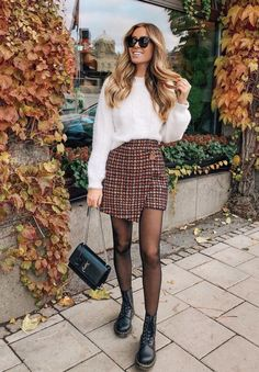 Loving the mix with the skirt and boots outfit inspiration fall fashion womensfashion styleinspiration drmartens plaid hairstyles # Mode Outfits, Skirt Outfits, Trendy Outfits, 30 Outfits, Cute Fall Outfits, Winter Outfits, Pleated Skirt Outfit Short, Autumn Outfits Women, Dress Skirt