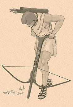 The  gastraphetes was a hand-held crossbow used by the Ancient Greeks. It was described in the 1st century AD by the Greek author Heron of Alexandria in his work Belopoeica, which draws on an earlier account of the famous Greek engineer Ctesibius . Heron identifies the gastraphetes as the forerunner of the later catapult. Unlike later Roman and medieval crossbows, spanning the weapon was not done by pulling up the string, but by pushing down an elaborate slider mechanism.