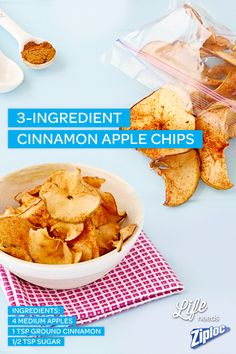 Need an easy snack recipe to go? Pack crunchy cinnamon apple chips in a Ziploc® bag for a guilt-free, healthy treat that your kids and family will love!