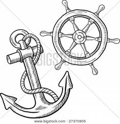 Ship anchor and wheel sketch