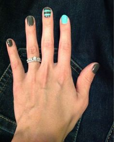 cute nails and a great color idea as a transition from winter to spring!
