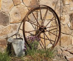 Old wheel and watering can