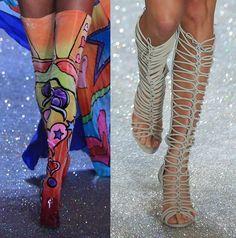 Models wear standout heels from Nicholas Kirkwood and Sophia Webster on the Victoria Secret Fashion Show runway, November 13, 2013