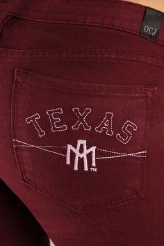 OCJ Apparel | Premium Collegiate Denim | Texas A&M Aggies Skinny Jeans A&M in Maroon | www.ocjapparel.com