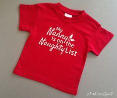 Nanny Naughty List Christmas T Shirt,Nanny Gift,Grandparent… Family Christmas Gifts, Christmas Shirts, Kids Christmas, Christmas Outfits, Xmas, Christmas Clothes, Funny Christmas, Christmas Stocking, Christmas Decor