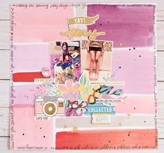 I have a few layouts this month that are a mix of March and April kits from Gossamer Blue. First up is this fun Yay! My Scrapbook, Scrapbooking, Scrapbook Layouts, Gossamer Blue, Family Life, Are You Happy, Kit, Photo And Video, Paper
