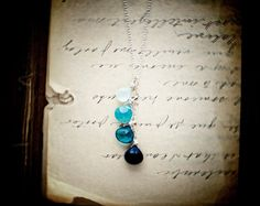 Blue Ombre Necklace Gemstone Jewelry Midnight Teal by PoleStar, $48.00
