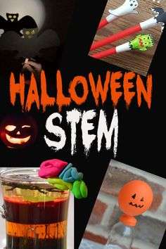 Halloween STEM Challenges for kids - scare yourself silly with these spooky Halloween STEM Challenges #Halloween #STEM Halloween Science, Halloween Activities, Easy Halloween, Spooky Halloween, Activities For Kids, Science For Kids, Science Experiments Kids, Stem Challenges, When I Grow Up