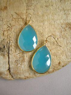 Large Aqua Chalcedony Earrings 18K Gold Vermeil by julianneblumlo, $98.00