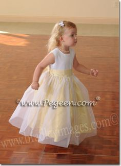 flower girl dress in sunshine yellow.  Pegeen Classic style 356. Available in 200+ colors of silk, in sizing from infant through girls plus sizes. ~ Located 1 mile from Disney World, Selling online and shipping world wide. Call us for design help! 407-928-2377