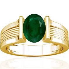 18K Yellow Gold Oval Cut Emerald Womens Astrological Ring