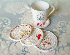 embroidery on crochet - Maize Hutton: Spring Time Coasters pattern Crochet Diy, Crochet Home, Love Crochet, Crochet Crafts, Yarn Crafts, Crochet Projects, Decor Crafts, Simple Crochet, Paper Crafts